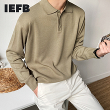 IEFB men's wear spring kintted polo shirts korean long sleeve big size casual clothes all-match basic long sleeve tops 9Y4235