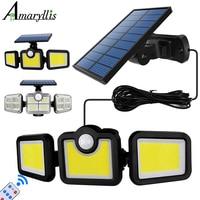 Luci solari teste regolabili lampada solare IP65 sensore di movimento solare impermeabile illuminazione grandangolare per giardino Garage