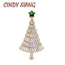 Cindy xiang cz cristal zircônia cúbica broches de árvore de natal para as mulheres brilhando luxo moda broche pino 2 cores disponíveis
