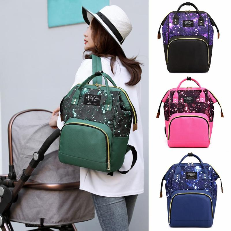 Backpacks Mummy Bag Star Sky Print Mommy Multifunction Maternity Travel Bags Nylon Nursing Baby Nappy Handbag Chair Bags