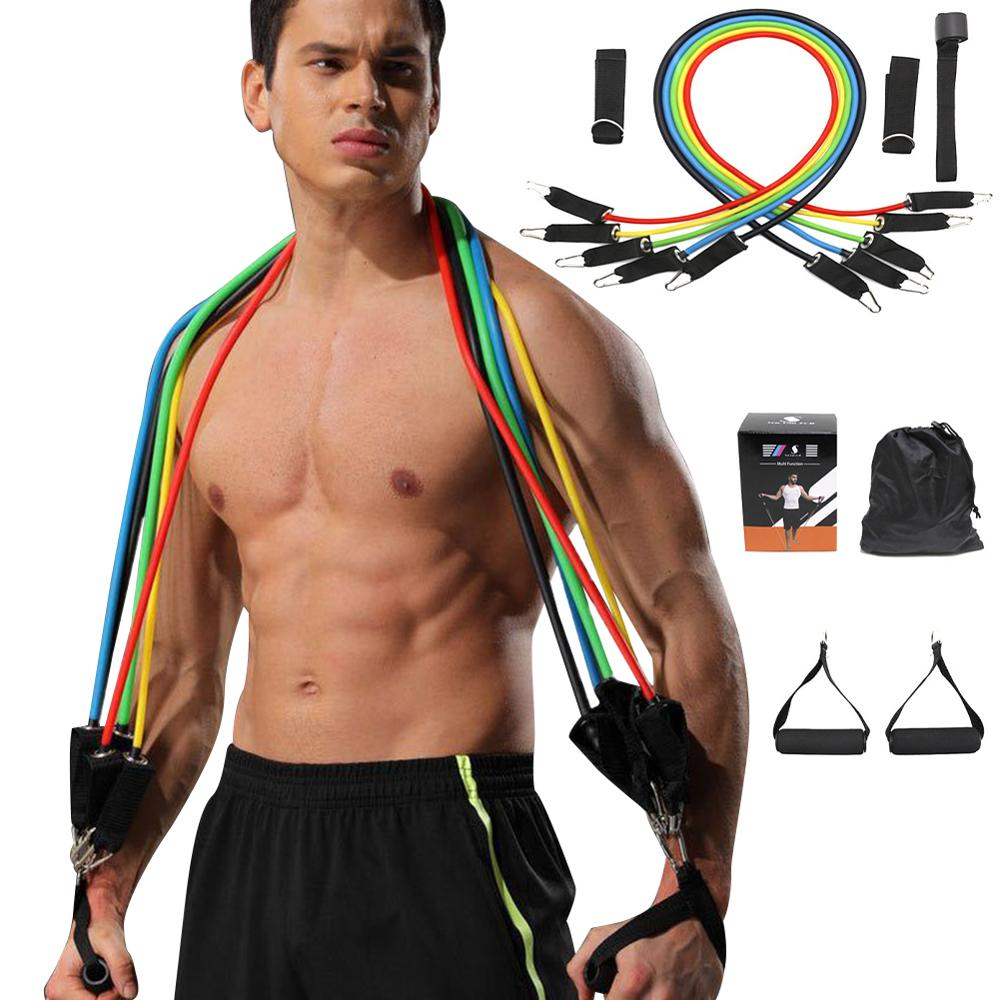 11 PCS Muscle Training Fitness Puller Resistance Belt Suit Multi Function One Line Tension Bodybuild Belt For Man Woman