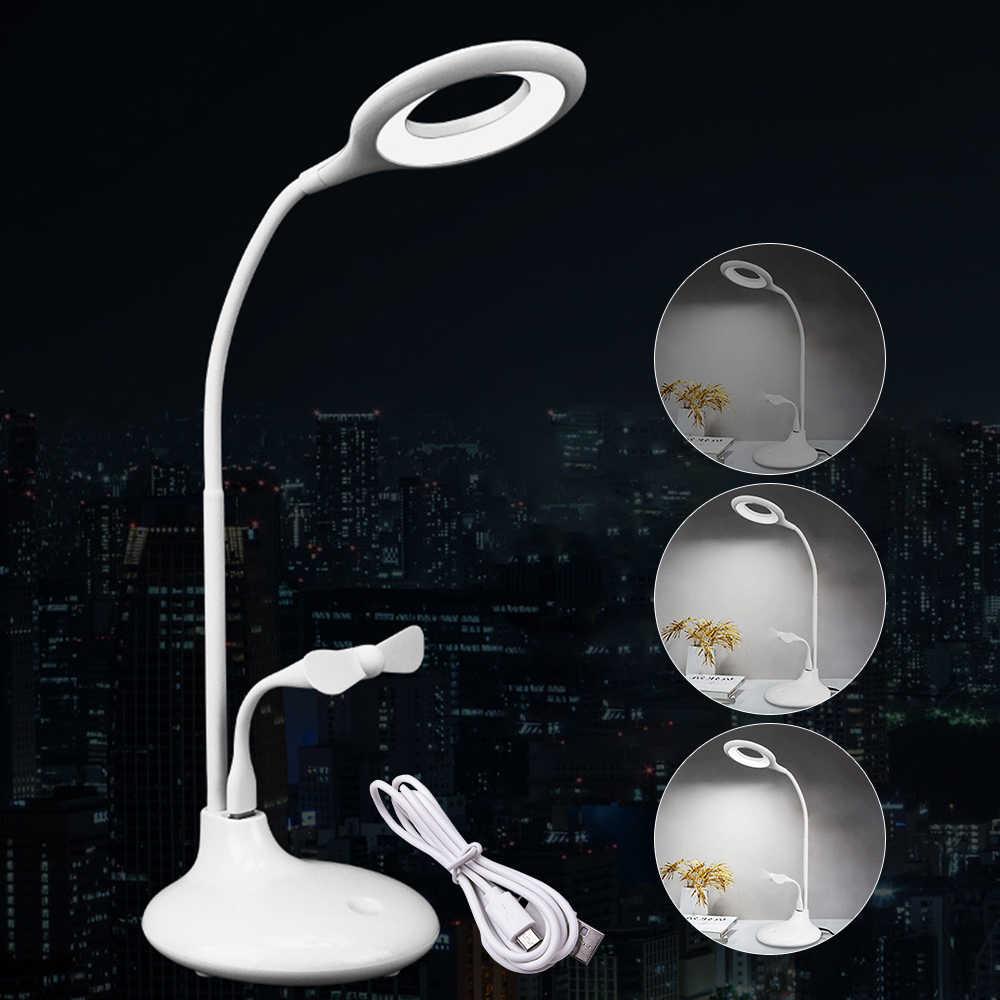 Светодиодная подставка настольная лампа с мини-вентилятором сенсорный выключатель 3 уровня диммер 1200 мАч батарея перезаряжаемая прикроватная комната кабинет настольные лампы