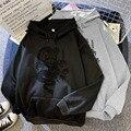 Осенне-зимний свитер ярких цветов с капюшоном и принтом черного дракона для пары; Топы с круглым вырезом