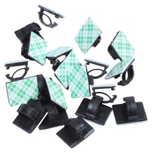 20pcs Adhesive Car Cable Clips Cable Winder Drop Wire Tie Fixer Holder Cord Organizer Management Desk Cable Tie Clamps 20pcs car cable winder fastener charger line clasp wire cord clip tie fixer organizer desk wall clamp holder management adhesive