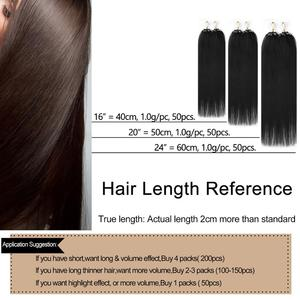 """Image 4 - Neitsi Straight Loop Micro Ring Hair 100% Human Micro Bead link Machine Made Remy Extension 16 """"20"""" 24 """"1 g/s 50g 20 colori"""
