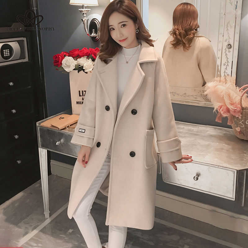 Bella Filsafat 2019 Musim Gugur Musim Dingin Wanita Korea Mantel Wol Wanita Solid Kasual Mantel Single Breasted Turn-Down Collar Jakects