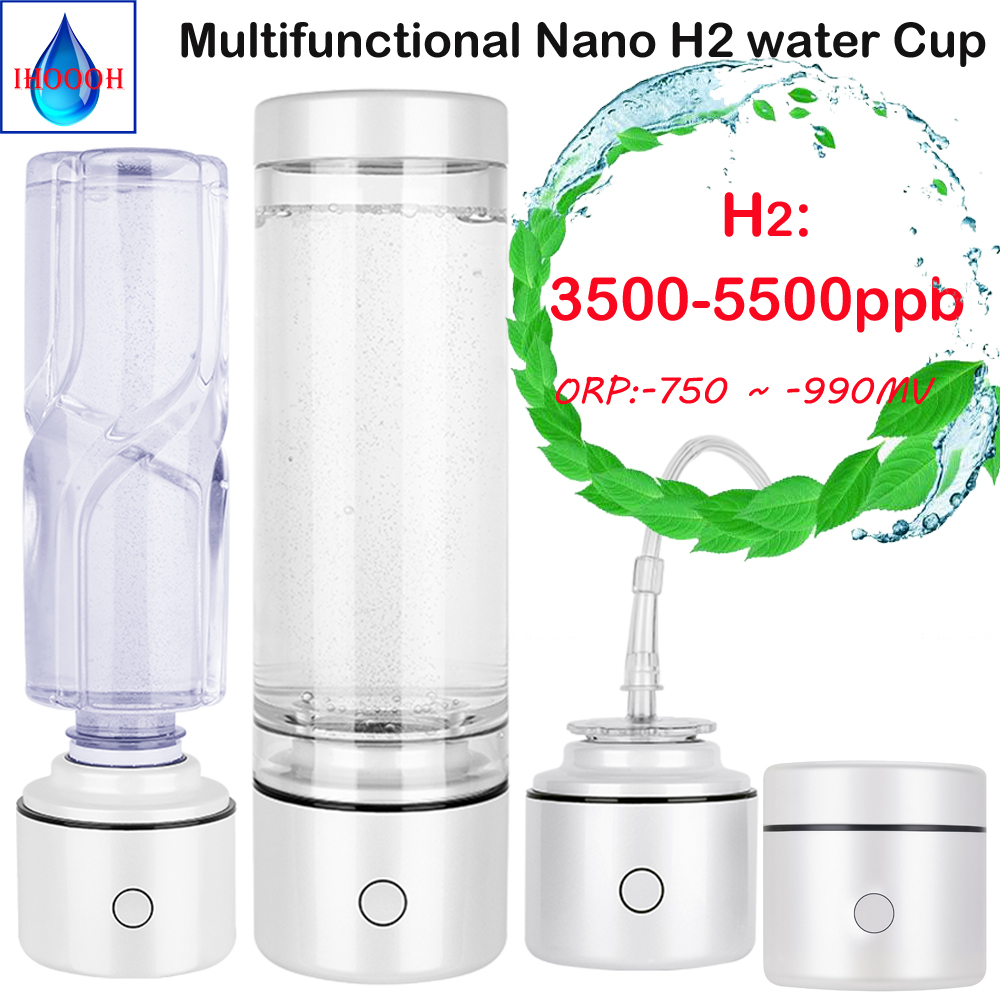 SPE&PEM Nano Concentration High Hydrogen Rich Generator Water Bottle Anti-aging Improves Immunity IHOOOH Factory Outlet