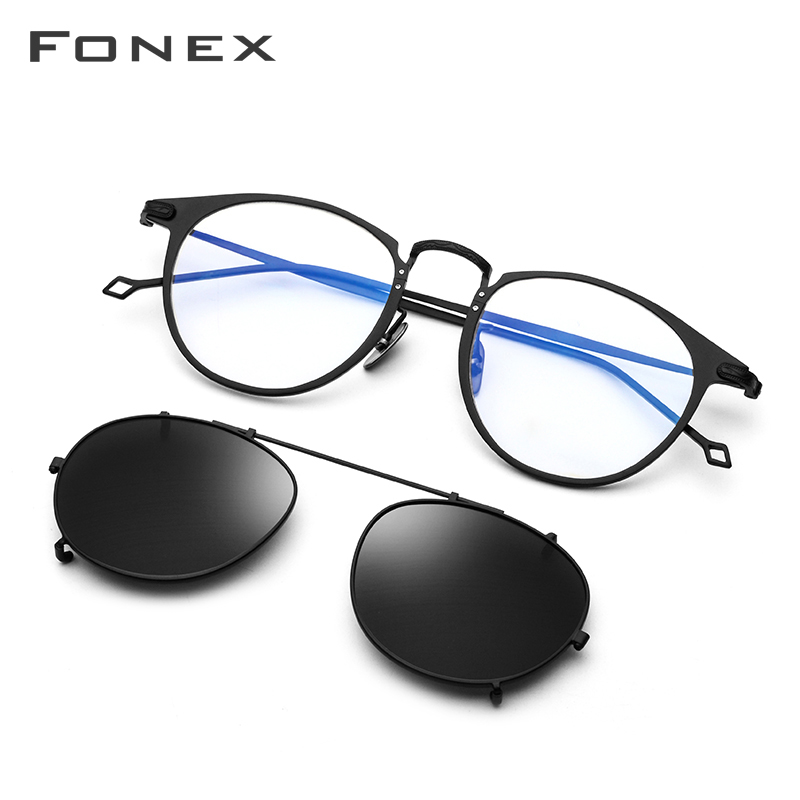 FONEX Pure Titanium Glasses Frame Men Ultralight Clip On Polarized Sunglasses Prescription Women Round Optical Eyeglasses 502