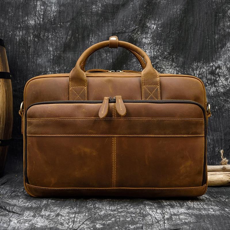 """H9894572604d94d72ad185583959ac678e MAHEU Men Briefcase Genuine Leather Laptop Bag 15.6"""" PC Doctor Lawyer Computer Bag Cowhide Male Briefcase Cow Leather Men Bag"""