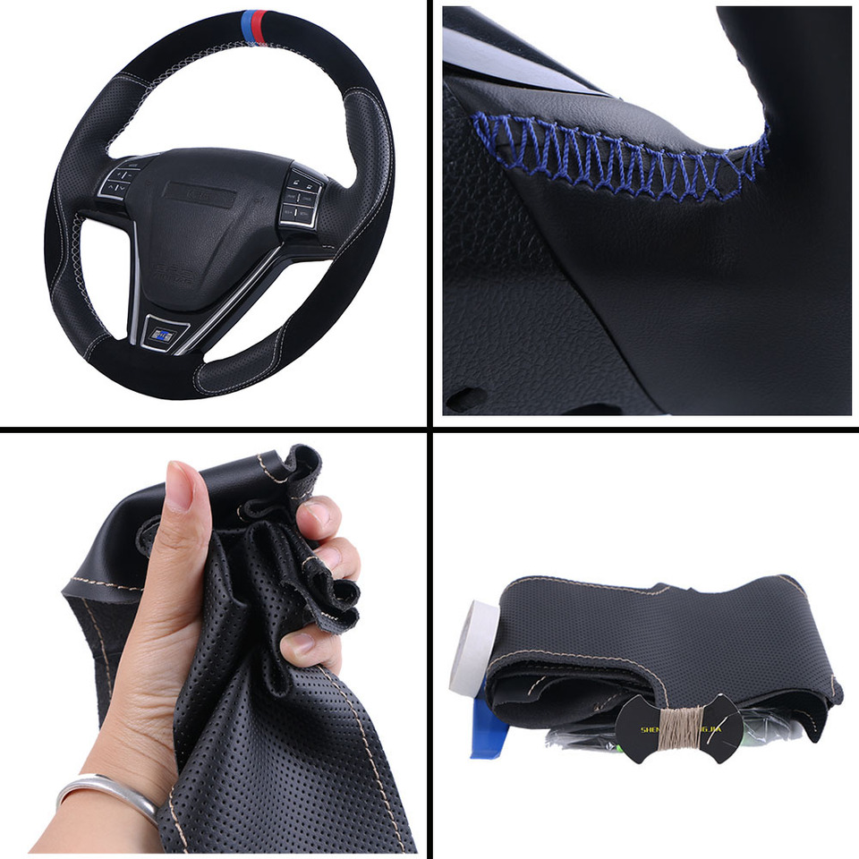 MEWANT Car Steering Wheel Covers Customized Handsewing Microfiber Leather Car Steering Leather Wrap for Prius 2009-2015 Aqua 2014 2015