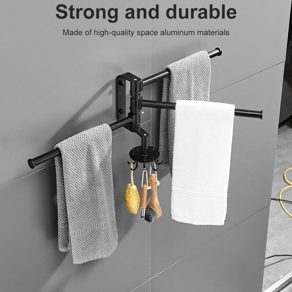Ванная комната полотенце держатель бар кухня полотенце держатель бумага вешалка для дома вращающийся настенный душ комната аксессуары с крючки 1 шт.