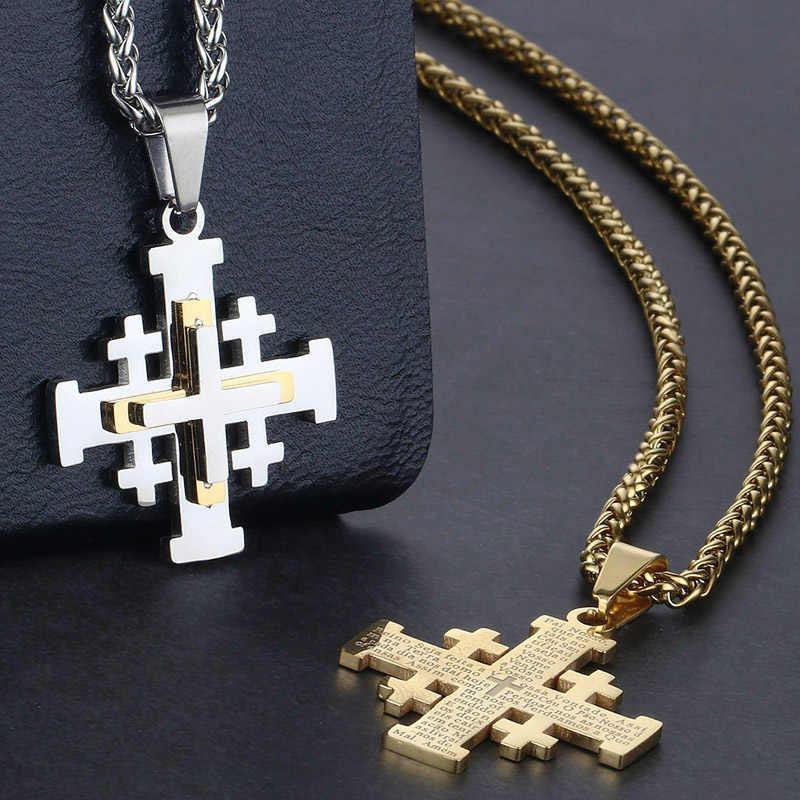 Silver Templar Cross Pendant Womens Mens Brown Leather Choker Necklace
