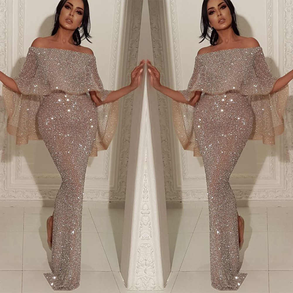 Sexy Long Dress Women Clothes Slash Neck Empire Floor-Length Sequin High Street Wedding Prom Party Night Elegant Fashion Dresses
