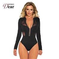 Comeondear боди с длинным рукавом и кнопкой сексуальный комбинезон для женщин игровая одежда XL Большой размер уличная одежда облегающее просвеч...