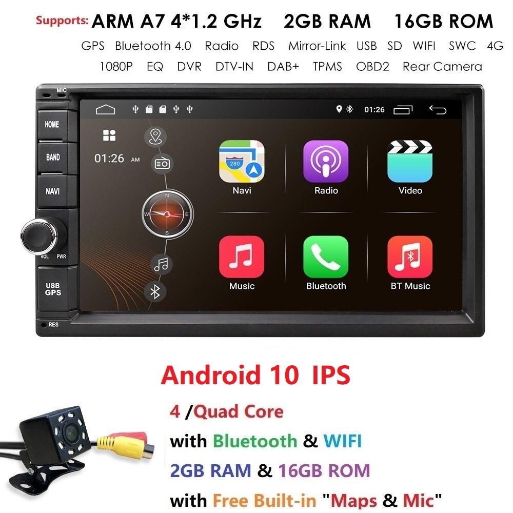 """Hizpo Quad Core 7 """"2Din Android 10 NO-DVD Radio reproductor Multimedia 1024*600 GPS Universal navegación auto radio estéreo de Audio"""