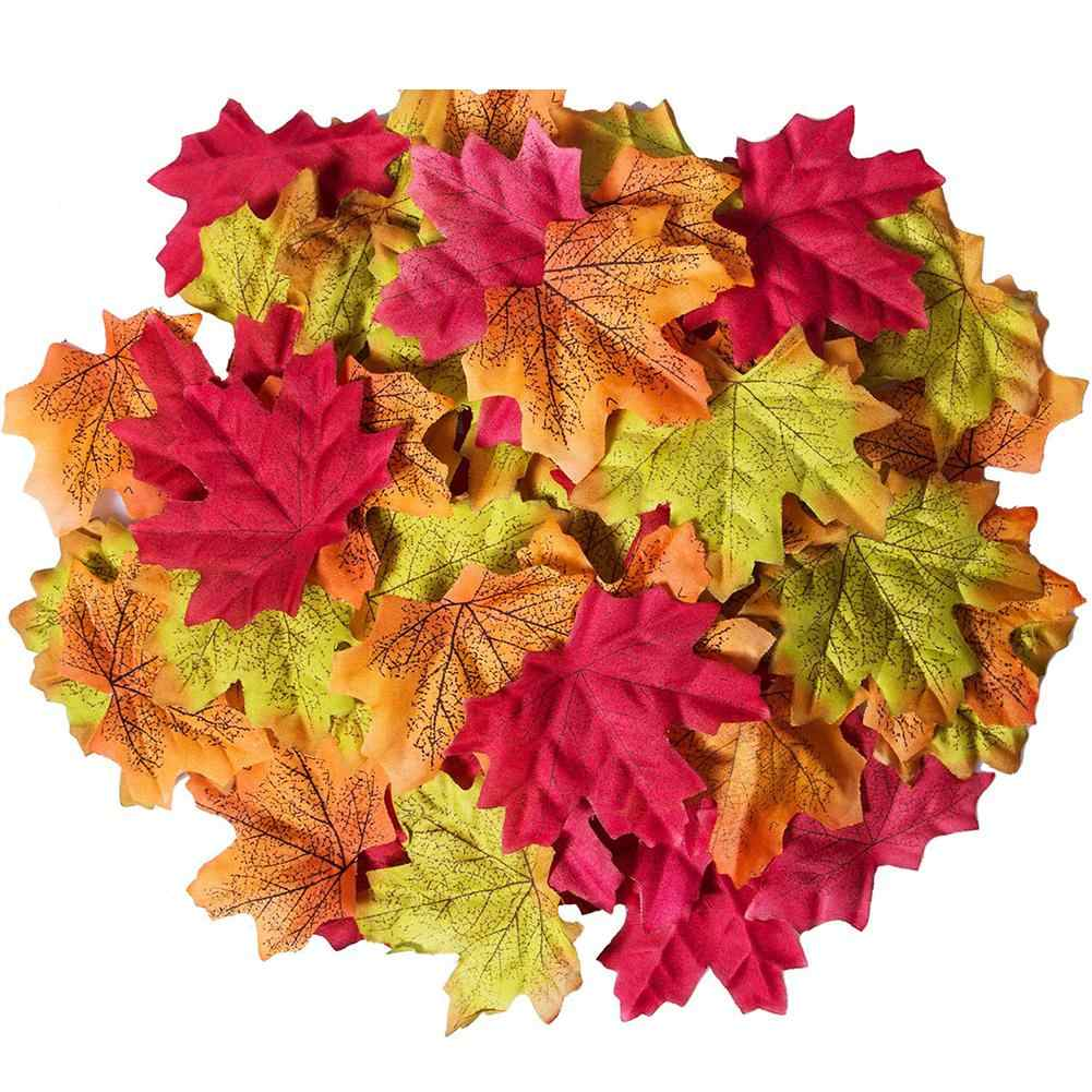 None 50 PCS/Set Simulation Maple Leaves for Wedding Party Festival Decoration Photo Props...