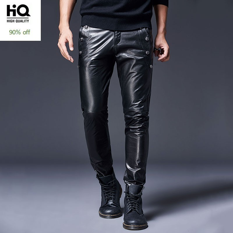 2020 New Goatskin Genuine Leather Pants Men Brand Windproof Motorcycle Biker Trousers Spring Casual Skinny Leather Pants 29-36