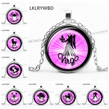 LKLRYWBD / Personality 12 Zodiac Pattern Necklace Constellation Round Pendant Best Gift