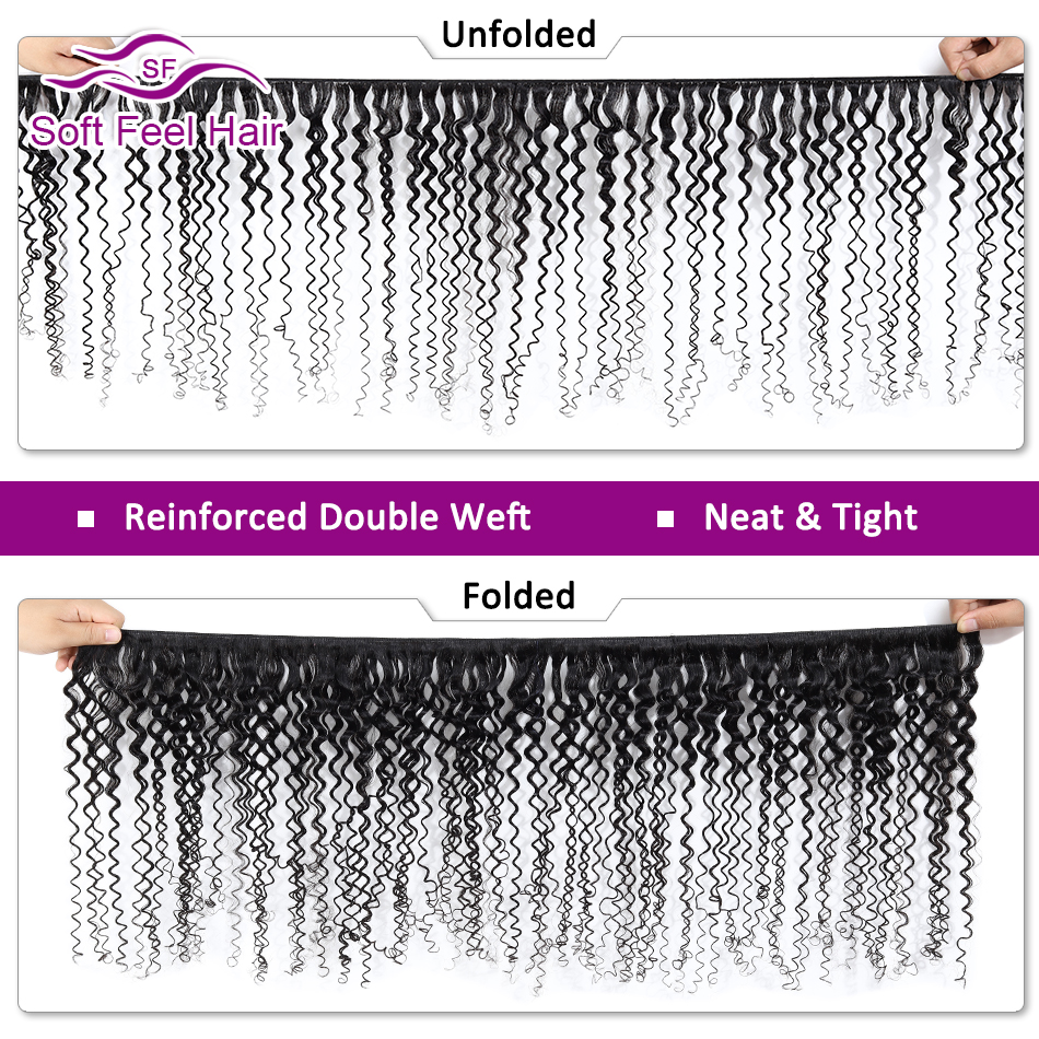 Image 2 - Soft Feel Hair Curly Bundles With Closure Brazilian Kinky Curly Hair With Closure Remy Weave Human Hair 3/4 Bundles With Closure-in 3/4 Bundles with Closure from Hair Extensions & Wigs
