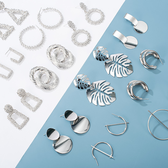 2020 Fashion Large Statement Drop Earrings Geometric Silver Color Jewelry 3