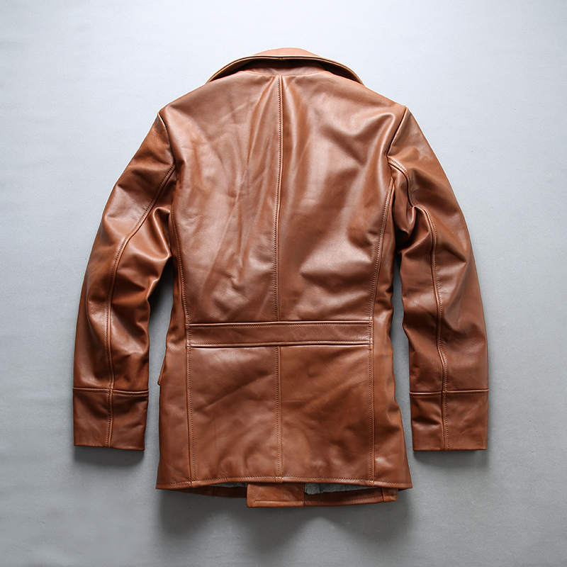 Men's With Double Breasted Brown Color Slim Fit Genuine Jacket Stylish Leather Coat Men