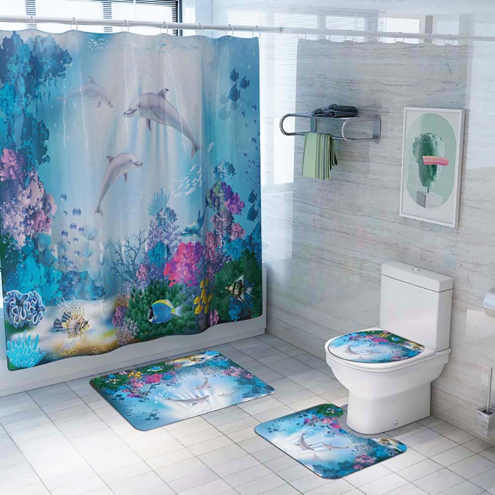 US Dolphin 180cm Shower Curtain Anti-slip Bath Mat Lid Toliet Pedestal Rug Cover