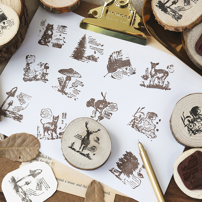 TUNACOCO Adventures In The Forest Stamp Seal Sighnet Wood Stamp Rubber Bullet Journal DIY Crafts Qt1710154