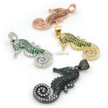 26*14*3 мм микро паве зеленый и черный и прозрачный CZ гиппокамп Подвески подходят для мужчин и женщин изготовление ожерелья ювелирные изделия