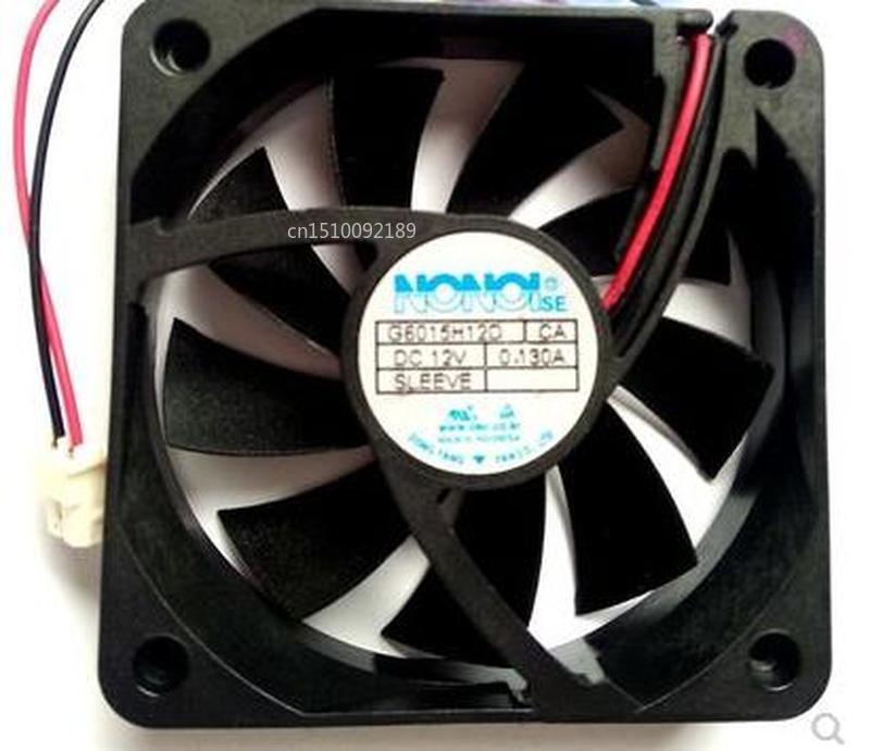 For NONOISE G6015H12D DC12V 0.130A 2pin 2wire 6015 60X60X15MM Cooling Fan Free Shipping