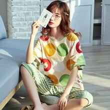 Летние женские домашний костюм пижама весна лето тонкий короткими рукавами хлопок пижамы домой костюм пижамы