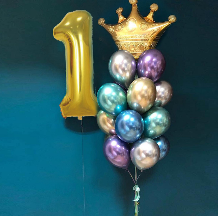 Gold Crown Foil Balloons Birthday Decorations Adult For 1st Birthday Party Balloon Prince Princess Baby Cartoon Hat