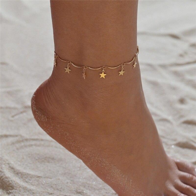 VAGZEB 2020 Gold Color Pentagram Anklets Barefoot Foot Jewelry Leg New Anklets On Foot Ankle Bracelets For Women