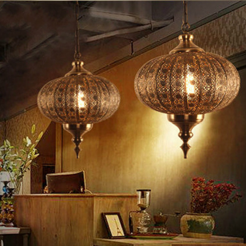 Globe chandelier retro old metal desk lantern hollowed out antique bar table creative personality engineering lamp LB123012