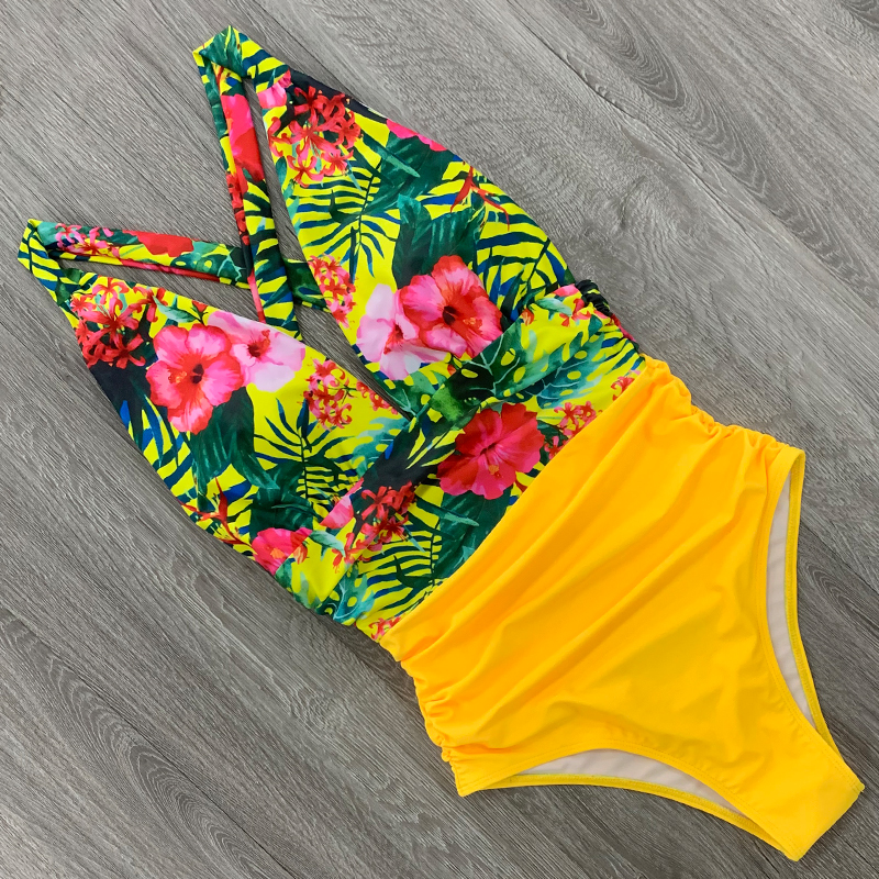 2020 Sexy One Piece Swimsuit Female Floral Women Swimwear Push Up Bathing Suits Bodysuits Beach wear Deep V-neck Ruffle Monokini-5