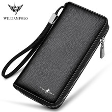 WILLIAMPOLO New Fashion Men Long Wallet Genuine Leather Luxury Brand Men Purse Male Clutch Wallet Zipper Card Holder wallet
