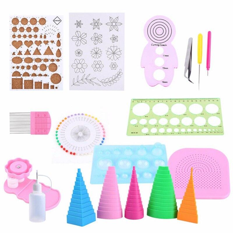 19Pcs DIY Paper Quilling Handmade Tools Set Template Tweezer Pins Slotted Tool Kit Paper Card Crafts Decorating Tools
