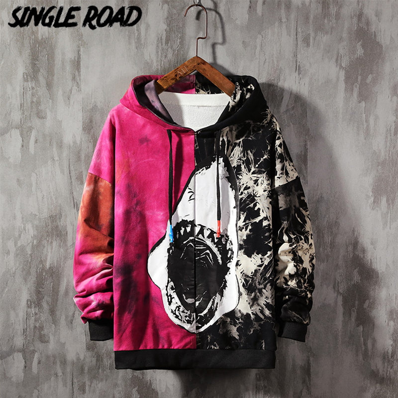 SingleRoad Men's Hoodies 2020 Oversized Tie Dye Patchwork Shark Harajuku Japanese Streetwear Hip Hop Hoodie Men Sweatshirt Male