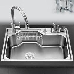 Fregadero Multi-función Nano de cocina 304 de acero inoxidable, fregadero grande individual, soporte para cuchillo, fregadero para lavar vegetales, espeso
