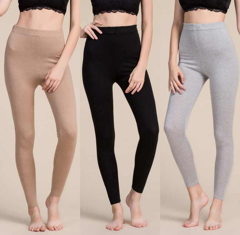 Vrouwen 80% Zijde 20% Wol Knit Stretchy Volledige Lengte Warme Trui Thermische Leggings SG367