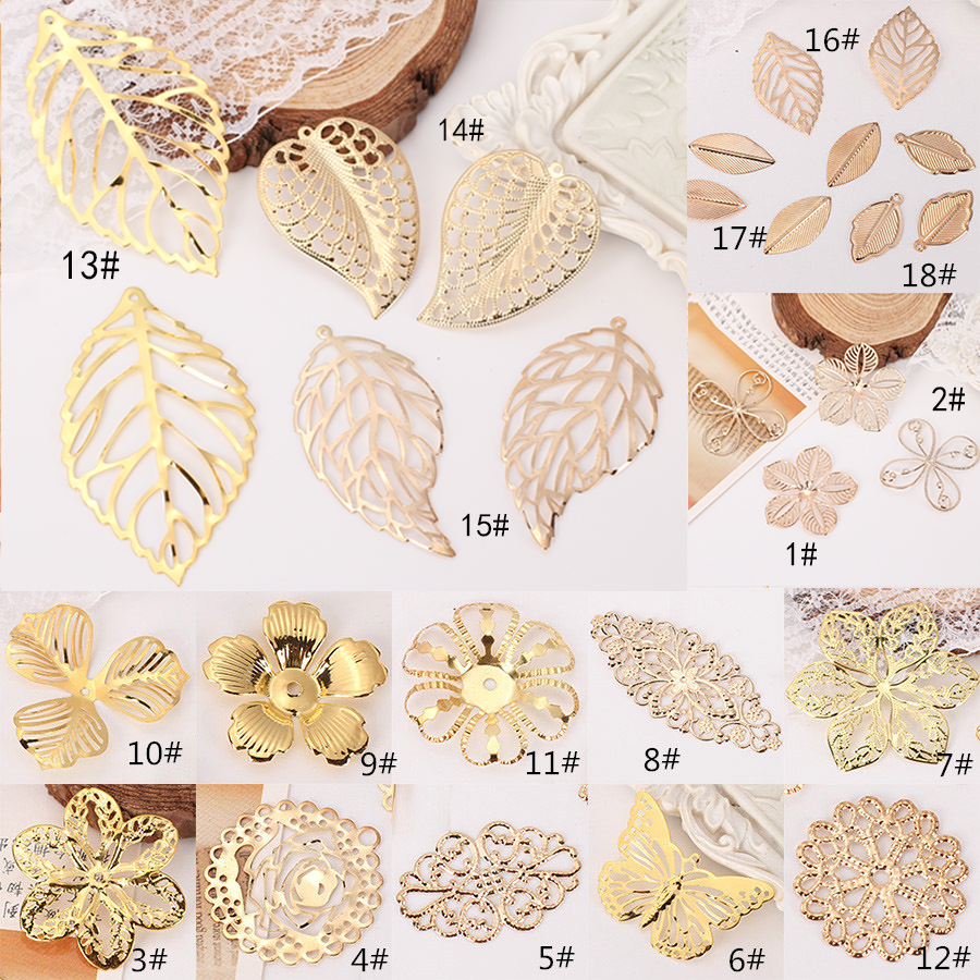 12pcs/lots Gold Plated Metal Filigree Wraps Flowers Connectors Slice Leaf Leaves Charms For Jewelry Making Crafts Diy Findings
