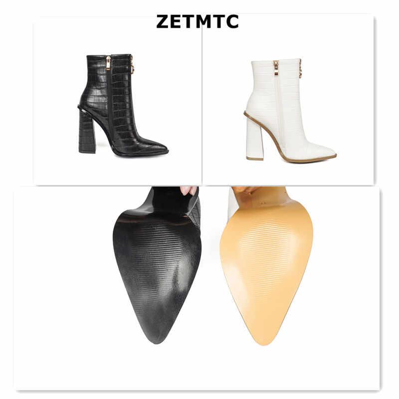 Женские ботильоны; обувь на молнии и не сужающемся книзу массивном каблуке; удобная женская обувь с острым носком; весенняя обувь в стиле ретро из искусственной кожи с каменным узором; Бесплатная доставка; 9