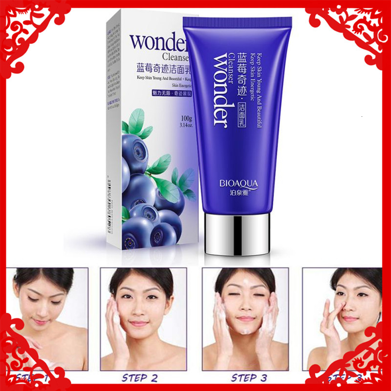BIOAOUA Blueberry Wonder Facial Cleanser Plant Extract Facial Cleansing Rich Foaming Face Cleanser Moisturizing Face Skin