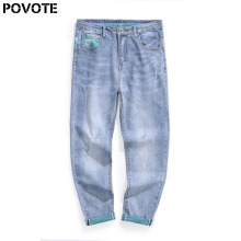 POVOTE brand spring and autumn men's elastic jeans pants loose fit fashion simple trend design