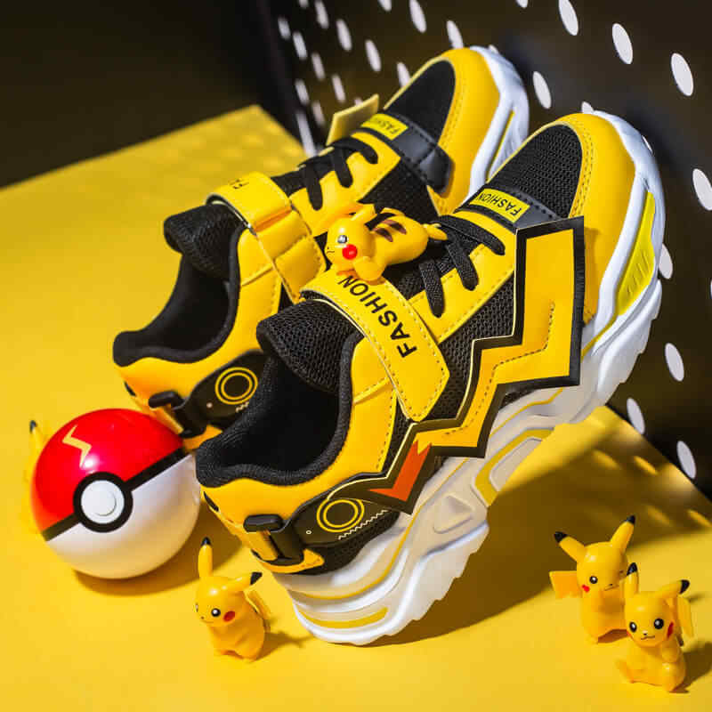MWY Children's Fashion Pikachu Casual Shoes Four Seasons Kid Sneakers Breathable Mesh Soft Sole Trend Boys and Girls Shoes 28-38