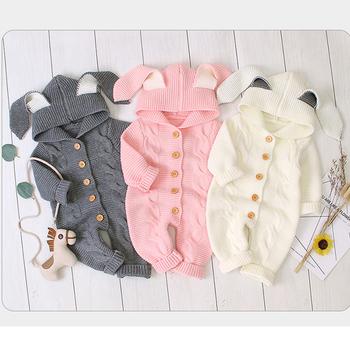 Płaszcz niemowlęcy noworodek ubrania jesień śliczne chłopięce kombinezon Romper dziewczynek ubrania dzianinowe kombinezony dziecięce kurtki dla niemowląt odzież tanie i dobre opinie KEAIYOUHUO Moda COTTON Poliester baby coat Pasuje prawda na wymiar weź swój normalny rozmiar Czesankowej Unisex cotton+polyester