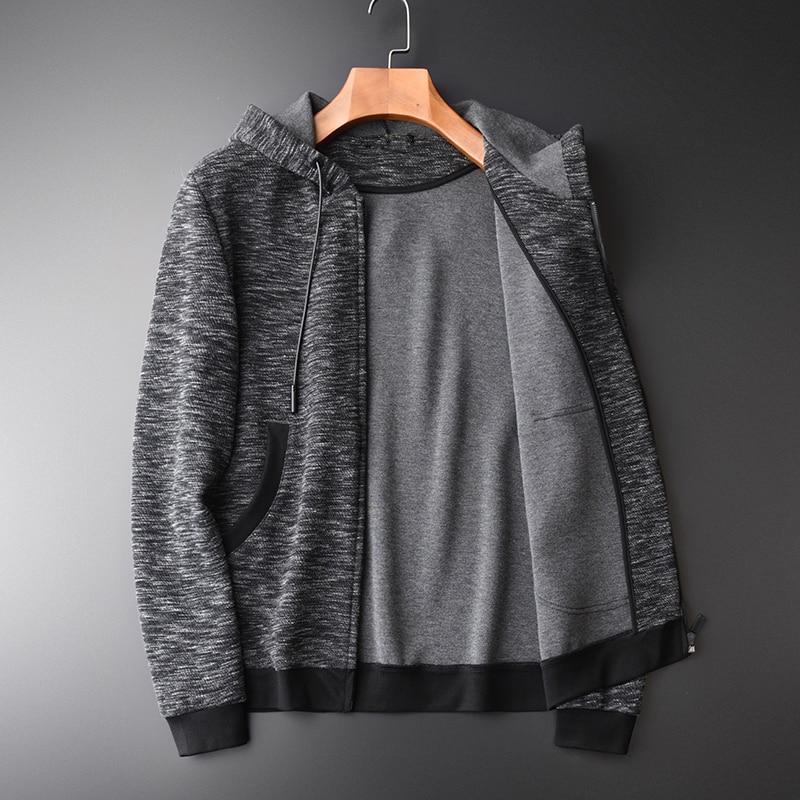 Толстовка мужская осень новая Пряжа окрашенная молния толстовки высокое качество мода Slim Fit серый с капюшоном толстовки для мужчин - 2
