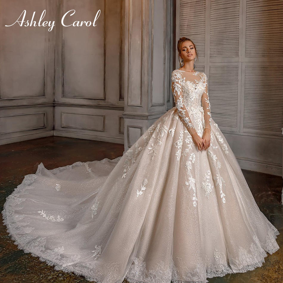 Ashley Carol Sexy O-Neck Luxury Lace Princess Wedding Dress 2019 Long Sleeve Beaded Appliques Bride Dress Romantic Wedding Gowns