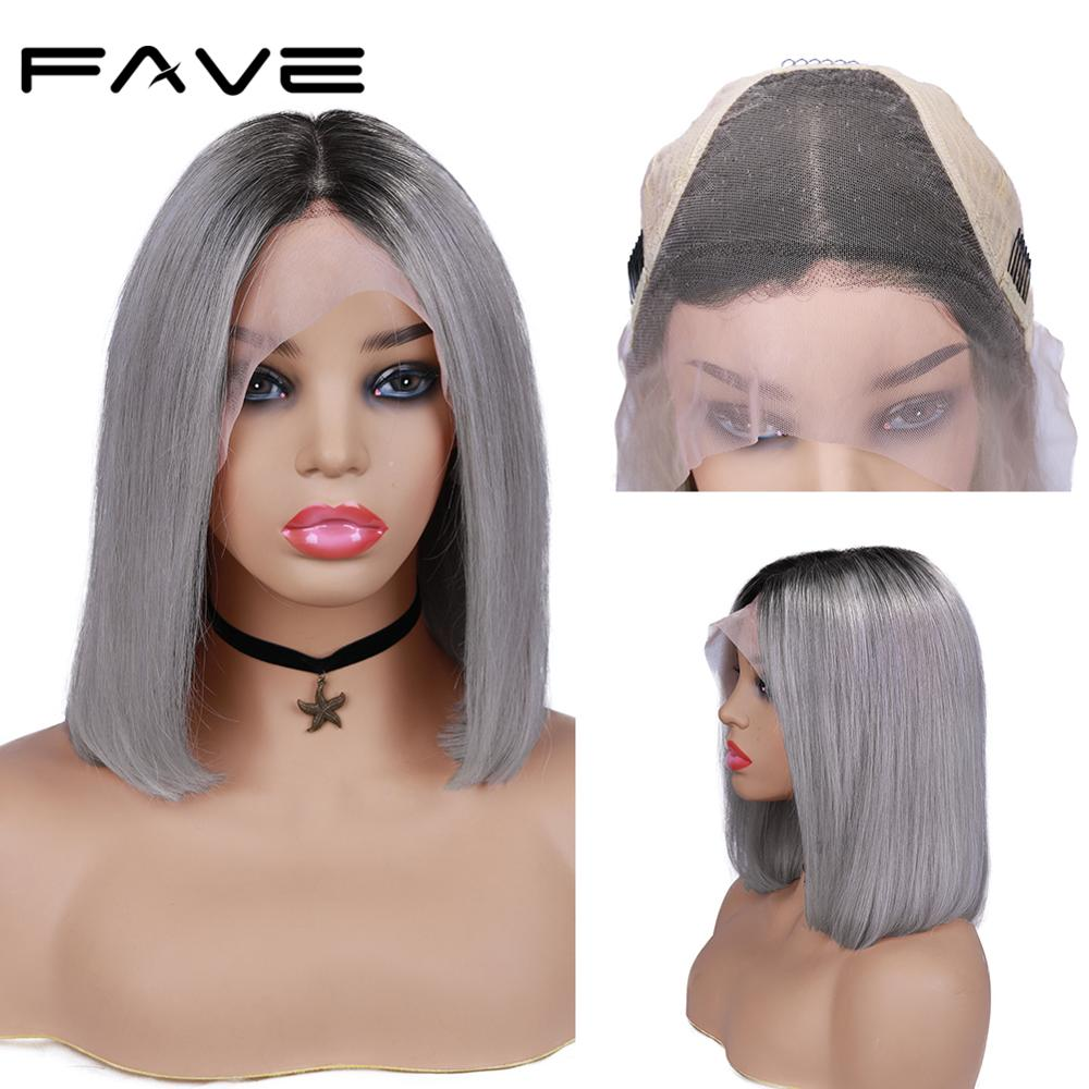Lace Front Wig Straight BOB Wig FAVE Brazilian Human Remy Ombre T1B/GRAY Wig Free Part PrePlucked Natural Hairline Free Gift