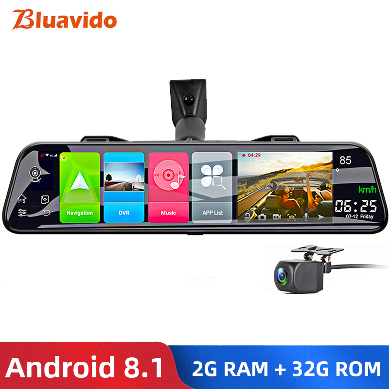 "Bluavido 12"" Rearview mirror Camera 4G Android 8.1 dashcam 2G RAM 32G ROM GPS Navigation car video recorder ADAS WiFi BT 4.0 DVR"