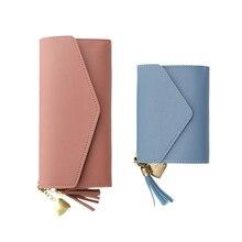 wallets Women Fmemale Clutch Bags Wristlets Coin Purse Money Card Holder case tassel Buckle PU Leather Fashion Wallet long short